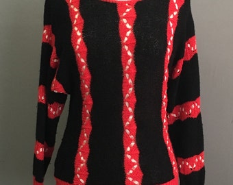 Striped Ribbon Weave Vintage Ginenne Sweater