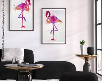 Watercolor Set of 2 Flamingo Fine Art Prints | Pink Bird Tropical Decor Painting | 300dpi JPEG File