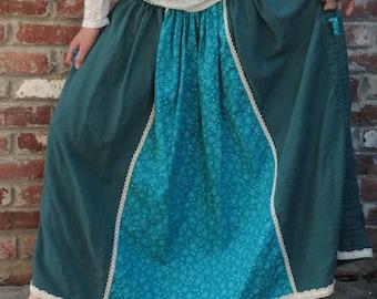 Maxi Long Convertible Linen Cotton Skirt with Stripes