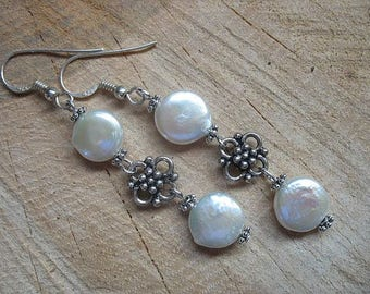 Fresh water pearl sterling silver dangle earrings, pearl earrings, pearl jewelry, June birthstone