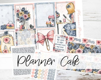 "PREMIUM MATTE (New Layout) Deluxe Weekly Sticker Kit For Use With Erin Condren Vertical Planners - ""Planner Cafe"""