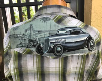 Hot Rod Shirt Rat Rod Rockabilly Shirt Tattoo Western Vintage Car Chopped Channeled Eco Size Medium
