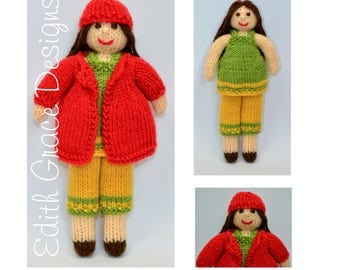 Doll Knitting Pattern - Autumn Doll - Rag Doll - Toy Knitting Pattern - Doll Making - Dolls Clothes - Knitted Hat - Yarn Doll - Knit Doll