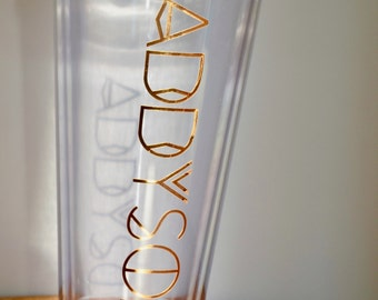 Gold or Silver Chrome 32 oz Personalized Straw Tumbler - double-walled monogrammed cup