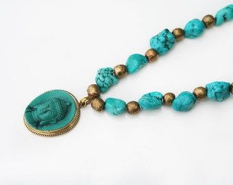60% OFF Boho Buddha v2 - necklace - a hand carved white buddha with turquoise howlite stones and handmade brass