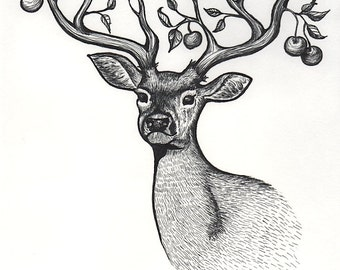 Deer with Apple Tree Branches as Antlers - Print - Pen and Ink