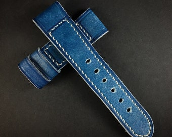 M6 - CHEFSHAOUEN BLUE - Vintage Style Leather Watch Strap