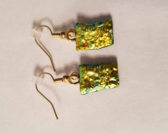 Gold Fused glass dangle earrings, gold plated hooks