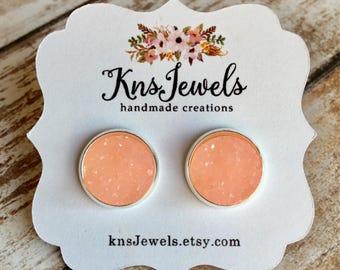 Apricot Druzy Studs, Custom Earrings, Sweet 12mm, Wedding, Bridal, Druzy Jewelry, Druzy Earrings