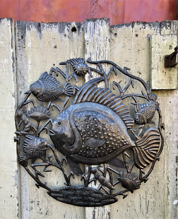 """Fishermans Catch, Reclaimed Metal Wall Art from Haiti, Quality Craftsmanhip 23"""" X 23"""""""