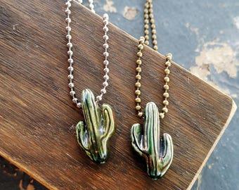 Ceramic Cactus Necklace Pendant Bead