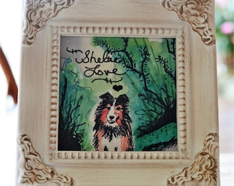 Sheltie Painting, Sheltie Art, Sheltie Dog, Shetland Sheepdog, Pet Memorials, Sheltie Memorial, Personalized, Add Pets Name, Customized