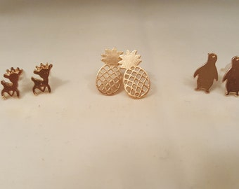 Gold Style Stud Earrings, Pineapple, Deer, Penguin Studs, Quirky Cute Earrings
