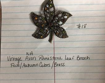 Vintage NA Avon Rhinestone Leaf Brooch