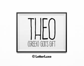 Theo Name Meaning - Landscape Printable Baby Shower Gift - Nursery Printable Art - Digital Print - Nursery Decor - Typography Wall Decor