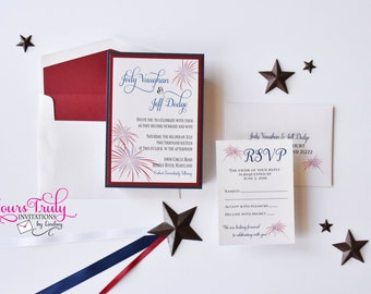 Deposit - Red White and Blue Fireworks Independence day, Fourth of July Wedding Invitation, Engagement Party