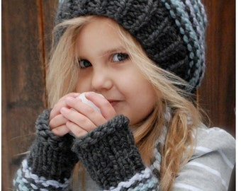 Knitting PATTERN-The Jersey Cap/Mitt Set (Toddler, Child, Adult sizes)