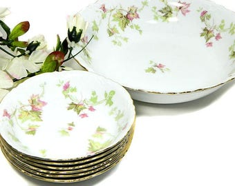 Vintage Hutchenreuther China Berry Fruit Bowls Maple Leaf Pattern 7 Pieces