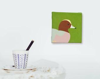 Bird gift bird painting duck painting duck art wigeon painting