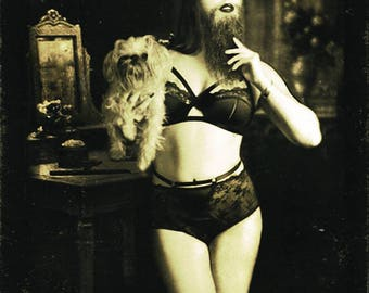 Freakshow - Bearded Lady- Sideshow - Vintage Circus - 'Bitcoin accepted'
