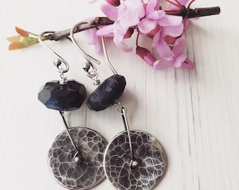 Handcrafted raw blue kyanite and sterling silver earrings