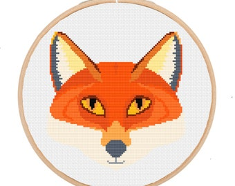 PDF Fox Head Cross Stitch Downloadable Digital Pattern