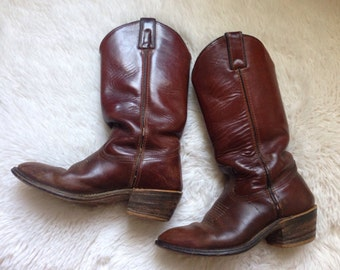 Vintage Double H Aged Distressed Leather Cowboy Boots 6