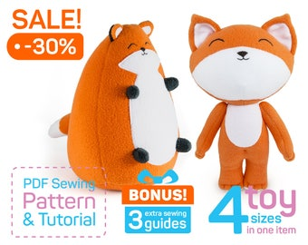 Plush Fox pattern PDF | Stuffed fox sewing pattern | Fox stuffed animal pattern | Fox patterns | Cute gifts | Gifts for kids