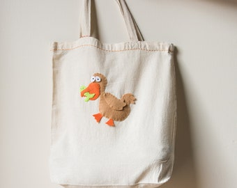 Reusable Grocery Tote with Hand Stitched Pelican Made from Recycled Water Bottles