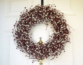 Burgundy Cream wreath - Holiday wreath  - Wreath for Winter -  Year round wreath - mini pip berry wreath - Front Door Decor