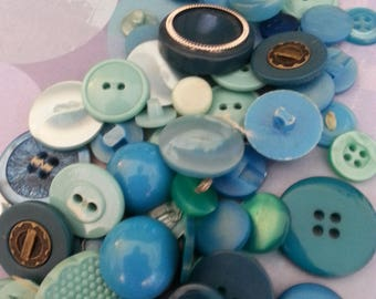 Collection Teal Green Vintage Plastic Buttons Sewing Knitting Craft Supplies Sixty + Buttons
