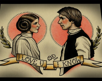 Princess Leia and Han Solo Star Wars Tattoo Art Print