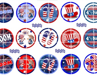 """Fourth of July 4th 1"""" bottle cap images BCI Red White blue Indepence day"""