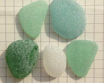 Large Japanese sea glass, genuine sea glass, sea glass bulk, beach glass, blue, green, white (no.642)