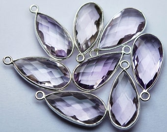 925 Sterling Silver,Natural PINK AMETHYST Faceted Pear Shape Pendant,4 Piece of 23mm