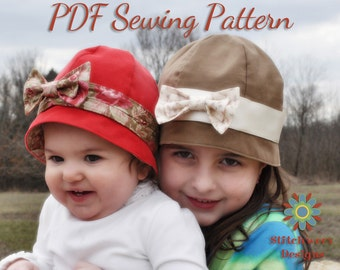 GIRLS HAT PATTERN, Baby Hat Pattern, Cloche Hat Sewing, Retro Hat Pattern, Baby Toddler Girl Child Sizes, Digital Pdf Hat Sewing Pattern