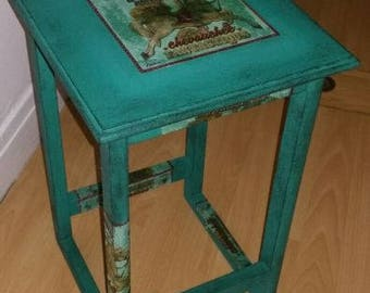 Shabby chic side table / stool Annie Sloan And Decoupage
