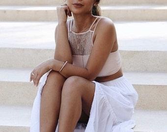 SALE - Bonnie Maxi Skirt - Boho Skirt - White Voile - Gypsy Skirt