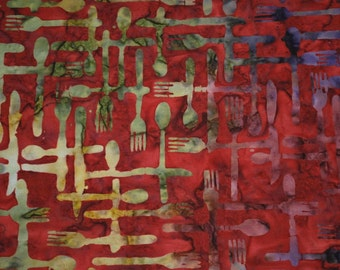 Mod Kitchen/Silverware Batik in Red and Greens from Riverwoods Collection by Troy -- Spoons/Forks/Knives on Red