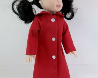 """Doll Coat for 14.5"""" Doll Red Coat  with Collar Fits Wellie Wishers Hearts 4 Hearts and Similar Dolls"""
