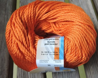 WORSTED Weight Yarn - Gassed & Mercerized Cotton - Mandarin Melody (#35) - 100g/ 132 yards - Ornaghi Filati Rock Cotton
