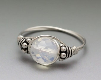 Opalite Sea Glass Faceted Bali Sterling Silver Wire Wrapped Bead Ring - Made to Order, Ships Fast!