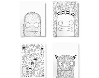 Toby and Friends · monster print · monster doodles · nursery print · Kids art · monster art