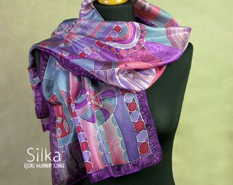 Purple  scarf silk scarves  violet hand painted silk violet pink scarf, gift for her handpainted scarf unique art one of a kind gift for her