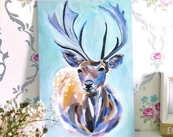 "Deer Painting Art Acrylic Original // ""20×30 cm""  on Canvas Panel"