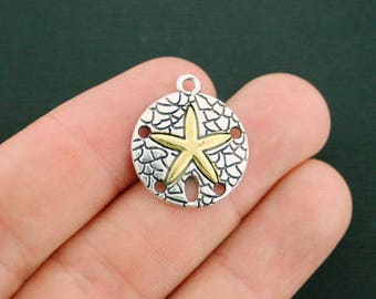 4 Sand Dollar Charms Antique Silver and Gold Tone - SC6477