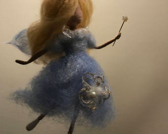 Needle felted fairy, Blue fairy, Waldorf inspired, Wool fairy, Art doll, Christmas,Angel, Christmas ornament