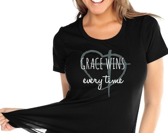 Grace Wins Every Time Glittter Christian Shirt | Christian Shirt for Women | women's Jesus Shirt