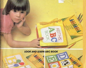 Vintage 1981 McCall's Crafts Pattern 654/7524 Look and Learn ABC SOFT BOOK