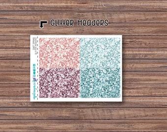 Quiet Spring Glitter Header Stickers | ECLP | Happy Planner | Recollections Planner